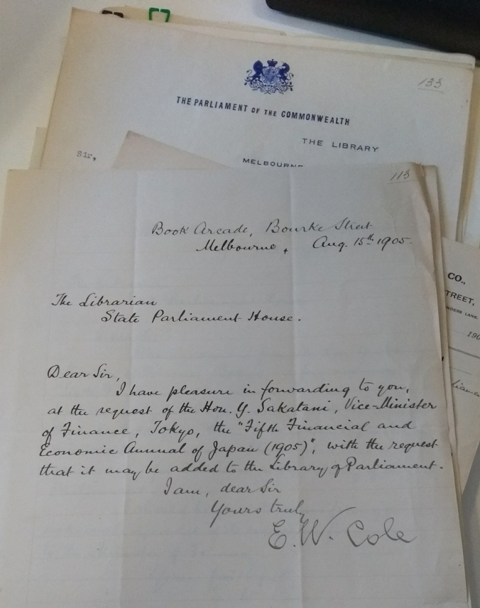 Letter from EW Cole to the Librarian at State Parliament House