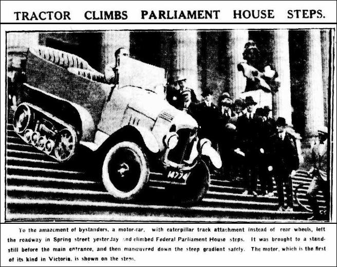 Tractor Climbs Parliament House Steps